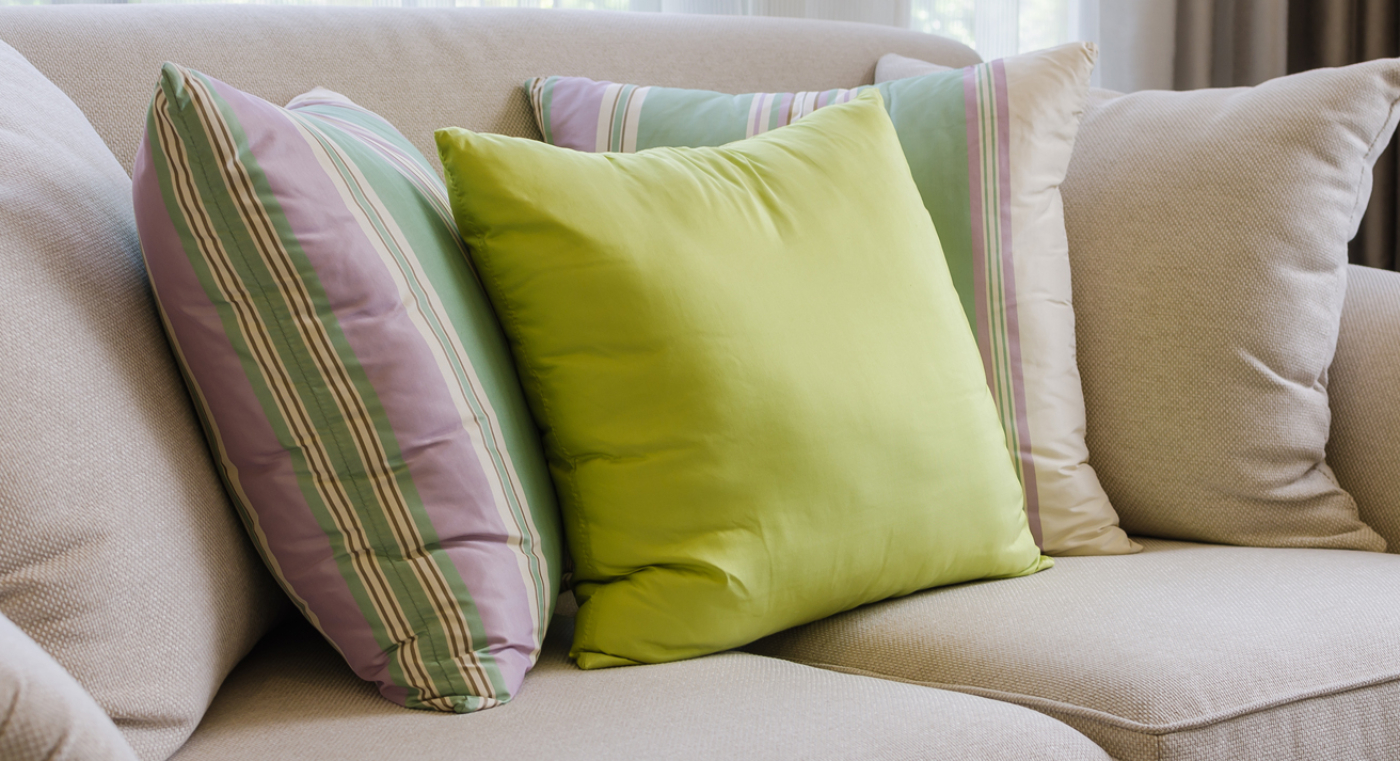 pillows on upholstery sofa