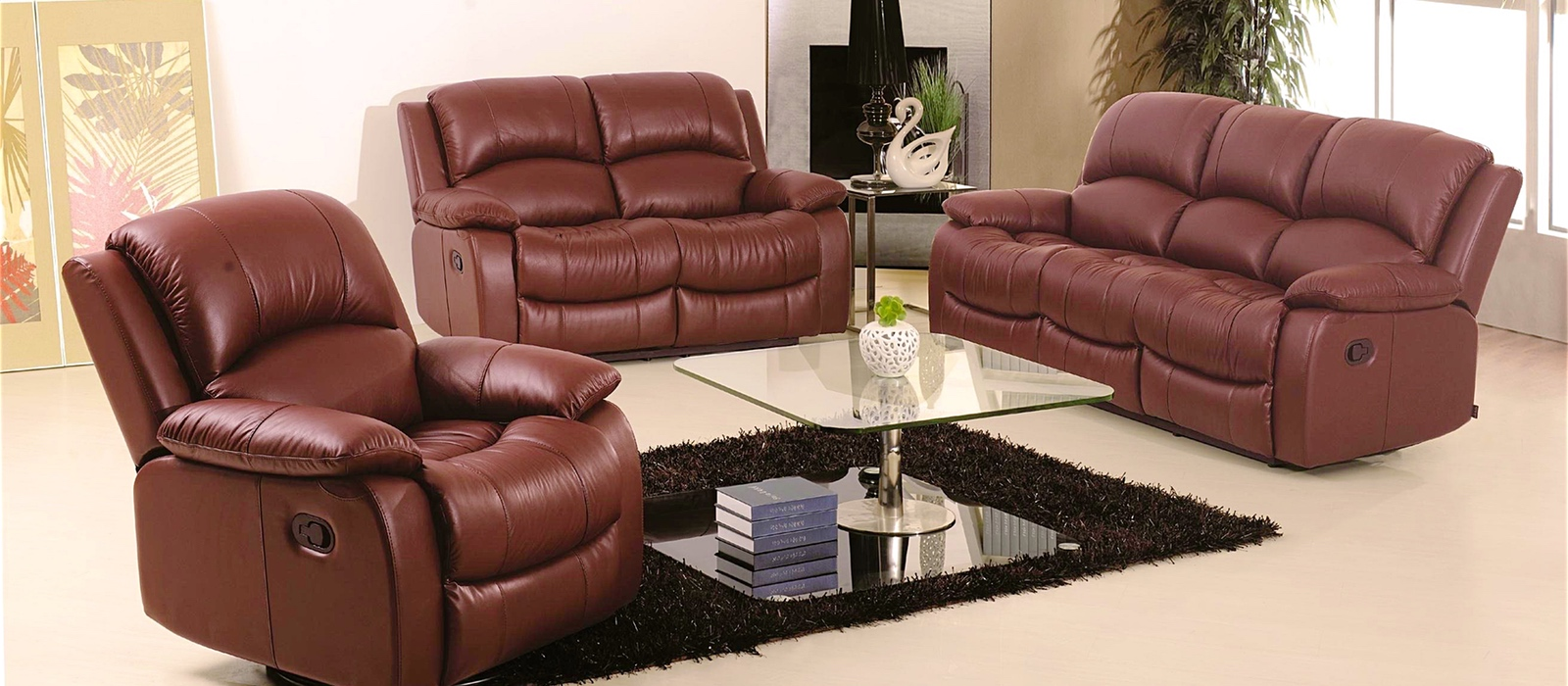 Brown colored leather sofa in luxurious interior room