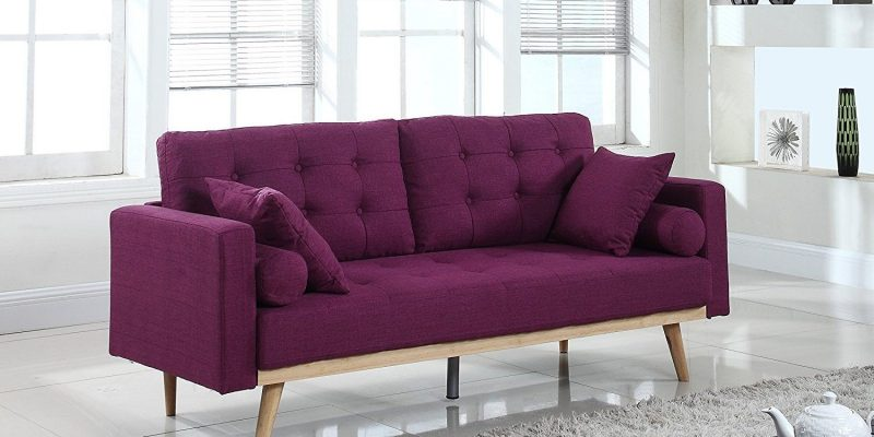 Purple Colored Sofa Placed On Modern Living Room.
