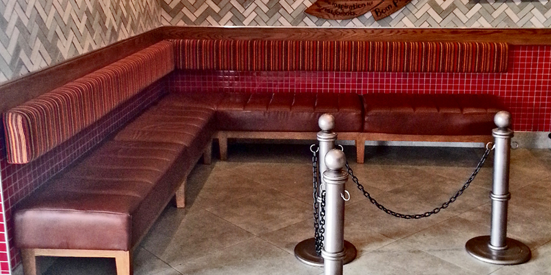 Classic Red Sofa For Seating In A Commercial Place.