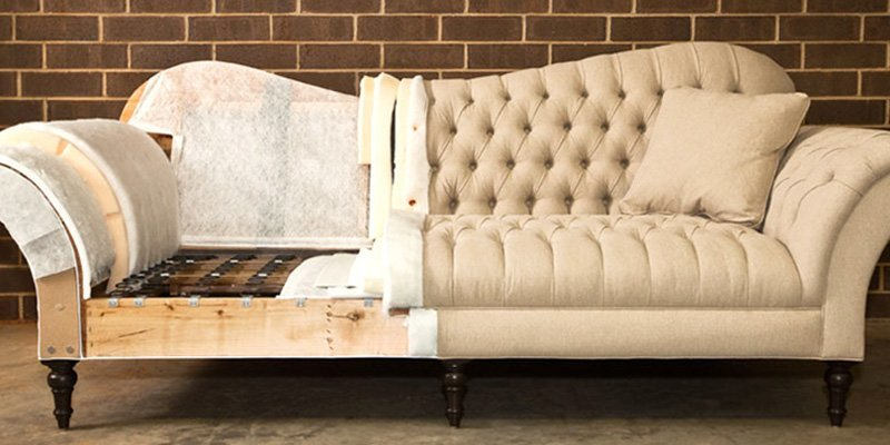 Sofa Image of Befor & After Reupholstering.